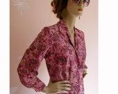 Springtime in Love Vintage 1960s Pink Pattern Blouse