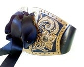 Western Floral Hand Tooled Leather Wide Waist Cincher Ribbon Laced Belt
