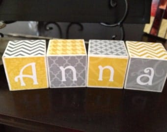 Personalized Wooden Blocks- 2x2 Cube-Set of 7