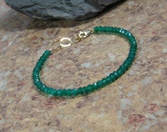 Green Onyx Bracelet, Gemstone Summer Layering Gold Bracelet, Size 7.25, Gift for Her