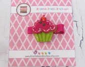 50% OFF - Entire Store - One Felt Cupcake Hair Clip