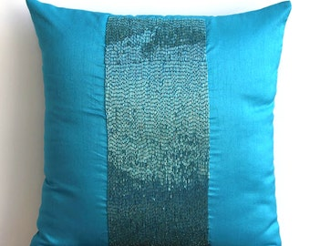 "Handmade Blue Pillows Cover, 16""x16"" Silk Pillow Covers, Square  Metallic Beaded Sparkly Glitter Pillows Cover - Aqua Center"