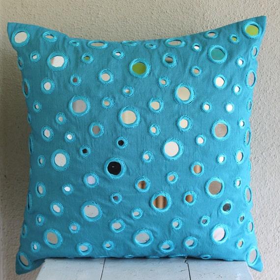 Luxury Aqua Blue Throw Pillow Covers 16x16 Silk