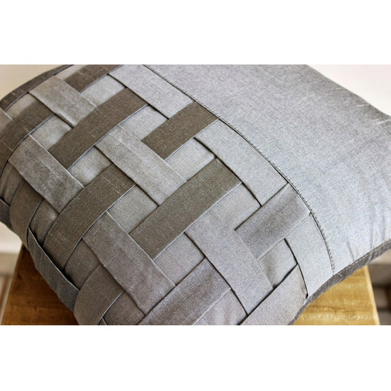 Throw Pillow Covers 20x20 : thehomecentric - Decorative Throw Pillow Covers Couch Pillow Sofa 20x20 Silver Gray Silk Pillow ...