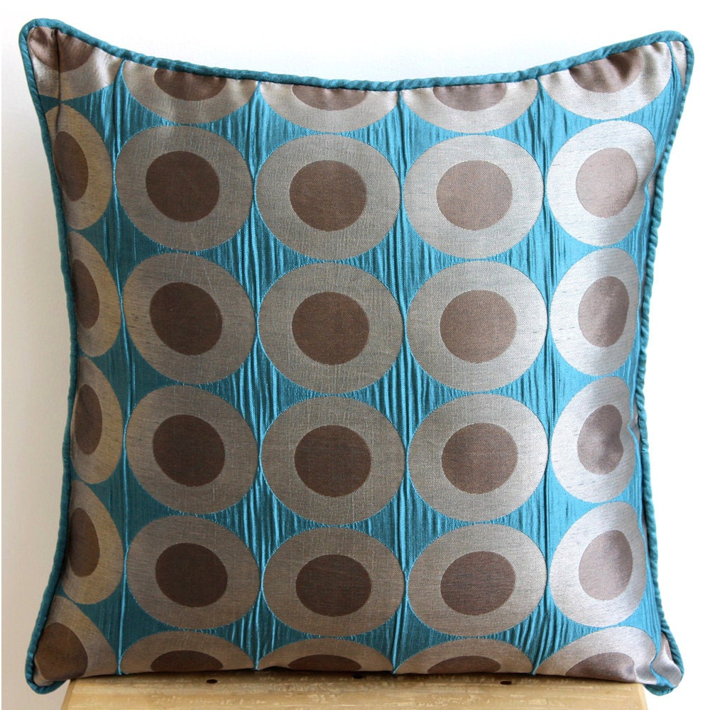 Etsy Teal Throw Pillow : Handmade Teal Blue Throw Pillows Cover 16x16 Silk