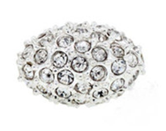 1 pc 9x13mm pave crystal bead Oval, Silver with crystals