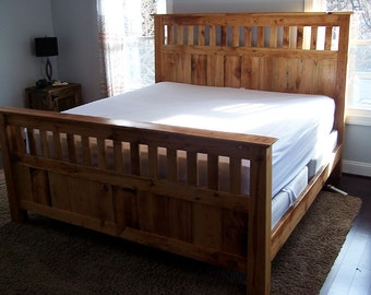 Mission Style Bed Frame Made From Vintage Reclaimed Heart Pine