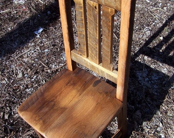 Reclaimed Antique Oak Rustic Mission Dining Chairs