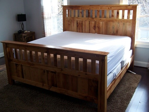 Mission style bed frame made from vintage reclaimed heart pine - Bed frame styles types ...