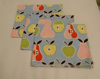 Cloth Napkins Set of 3 Pears and Apples Eco Friendy Hand Made in the USA Reusable Premium Quality