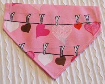 Dog Bandana with a Washline of  Hearts in Dog Collar Style Sizes XS to L