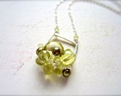 Limoncello Petite Cluster Necklace - lemon quartz cluster necklace, yellow gemstone necklace, handmade one of a kind yellow necklace CN04