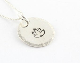 Lotus Flower Necklace - Sterling Silver Necklace - Gift for Yoga Lover - Yoga Gift - Ohm Necklace - Peace Necklace - Lotus Necklace