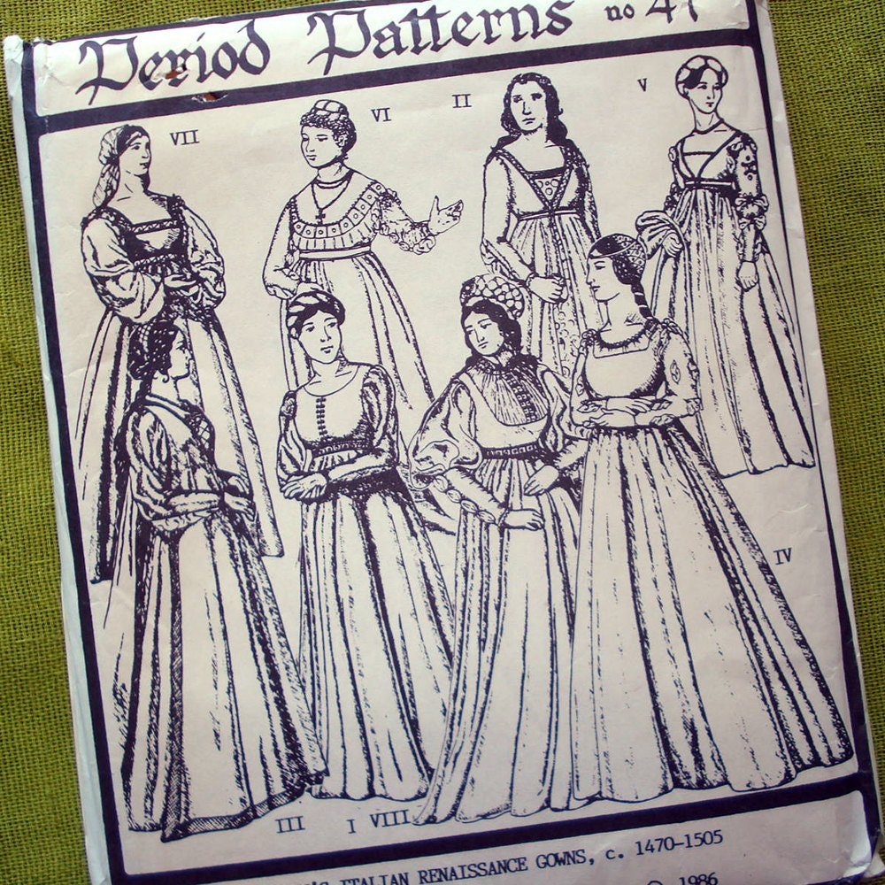 Italian Renaissance Gown Sewing Pattern Period Patterns No