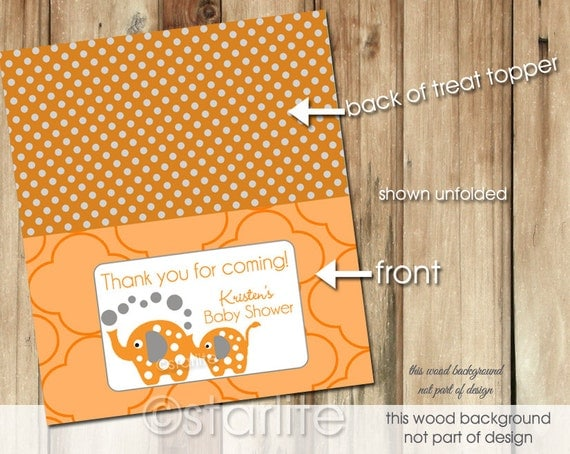 elephant baby shower treat bag toppers or tent cards orange gray
