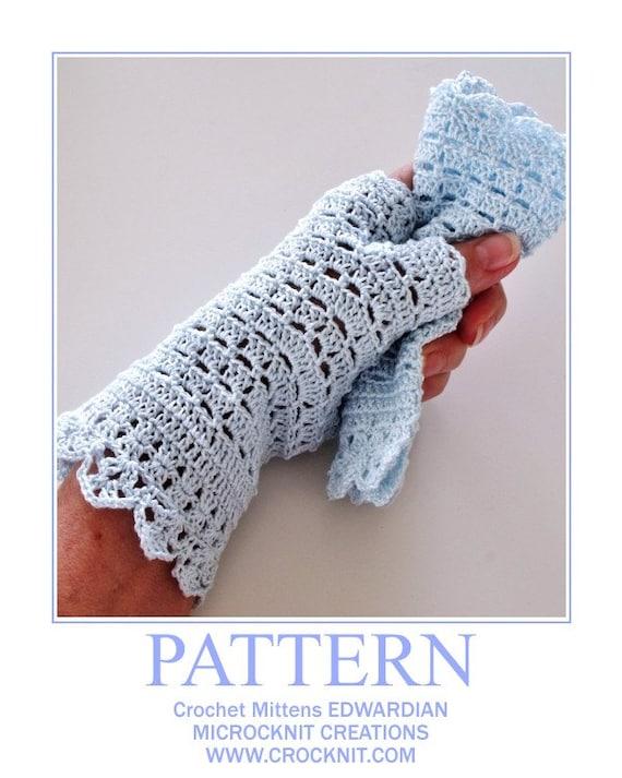 Crochet pattern fingerless mittens edwardian lace evening wedding