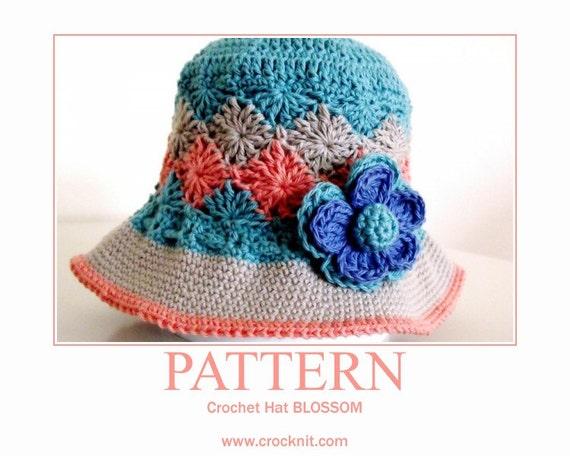 BLOSSOM Sun Hat USA American Crochet Pattern spring summer brimmed hat ...