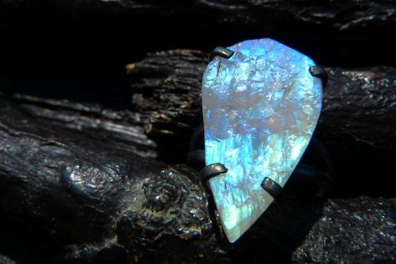 raw rainbow moonstone ring Brazilian jewelry by BeijoFlor ...