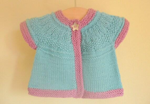 Knitting Pattern For Baby Seamless Yoked Sweater : Knitting Pattern Cardigan - Seamless Top Down Baby Girl Cardigan Jacket Sweat...