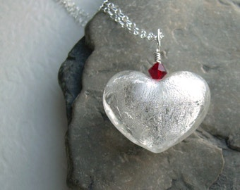 White Glass Heart Necklace, Romantic Jewelry, Sterling Silver Valentine Pendant