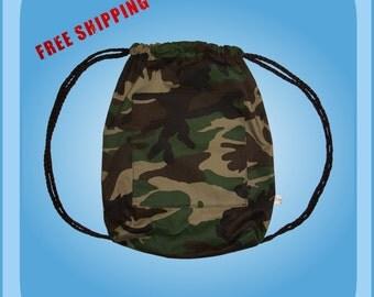 Army Camo Drawstring Backpack