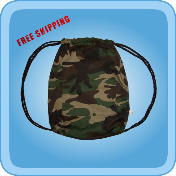 Army Camo Drawstring Backpack