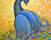 Peacock art print ... Majestic -- Signed 8 x 10 Glossy Print, from my original painting