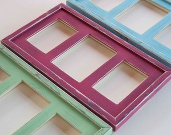 Set of 3 --- MULTI 3 Opening distressed collage picture frames with 1) 5x7 & 2) 4x6's ...choose your colors...HANDMADE
