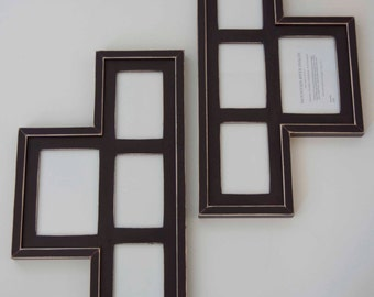 Set of 2 - MULTI 4 Opening distressed collage picture frame with 1) 5x7 & 3) 4x6's each ...java brown....HANDMADE