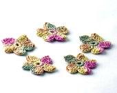 Crochet Applique Mini Flower Motif Flower Embellishment Crochet Flower Applique Sage Pink Ecru Yellow Crochet Motif Crochet Flower Motif