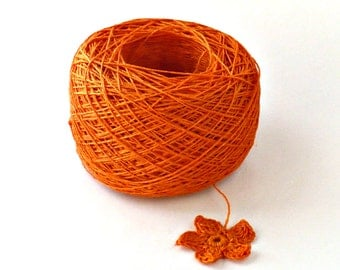 Crochet Thread 3 Ply Linen Thread Orange Linen Yarn Specialty Thread Tatting Thread