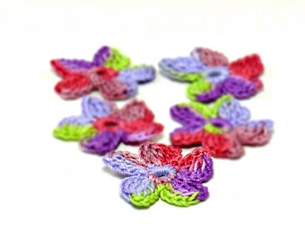 Crochet Applique Mini Flower Motif Flower Embellishment Crochet Flower Applique Crochet Motif Green Purple Lavender Crochet Flower Motif