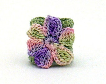 Crochet Ring Fiber Ring  Flower Applique Sage Pink Purple on Sage Band