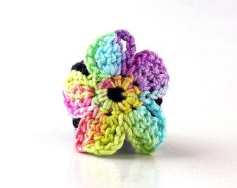 Crochet Ring Fiber Ring Rainbow Flower Motif Applique on Black Band