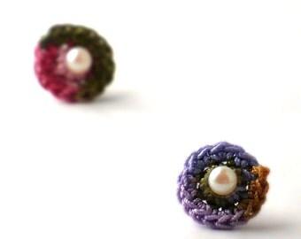 Crochet Earrings Stud Earrings Mini Circles Round Earrings Olive Lavender Peach Rose Salmon Small Earrings Little Earrings