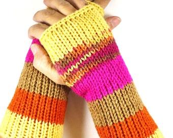 Knit Fingerless Gloves Knit Gloves Knit Arm Warmers Knit Wrist Warmers Knit Hand Warmers Knit Fingerless Mittens Yellow Brown Fuchsia Orange