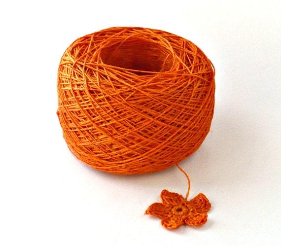 Crochet Thread 3 Ply Linen Thread Orange Linen Yarn Specialty Thread Tatting Thread