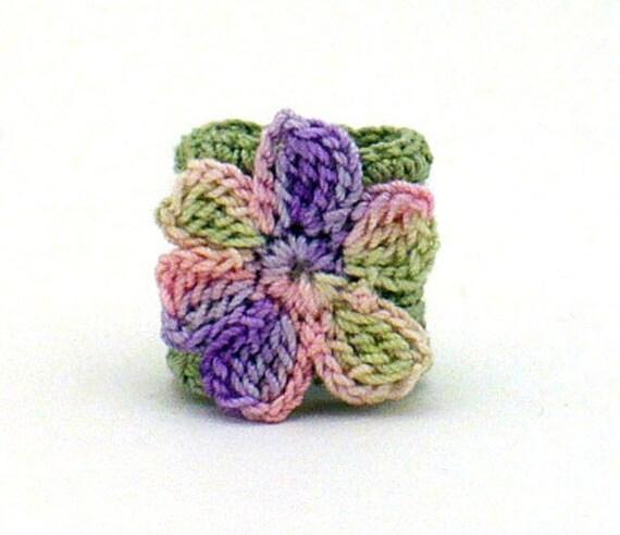 Crochet Ring Fiber Ring  Flower Applique Sage Pink Purple on Sage Band