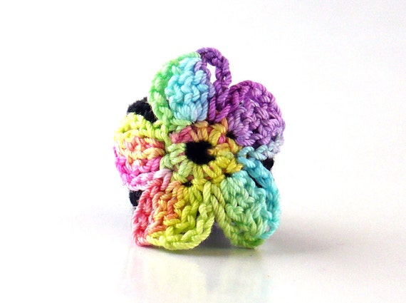 Crochet Ring Fiber Ring Rainbow Flower Motif Applique on Black Band