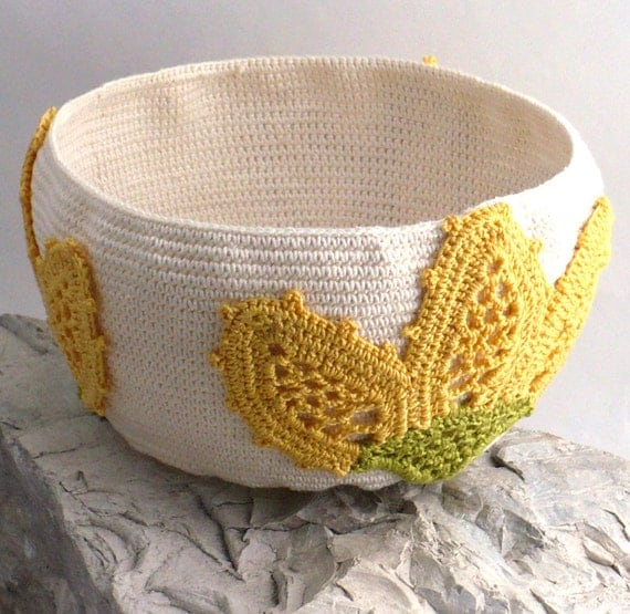 On Sale Marked Down 25% Crochet Tapestry Bowl Irish Lace Applique Lilies Yellow Ecru Green