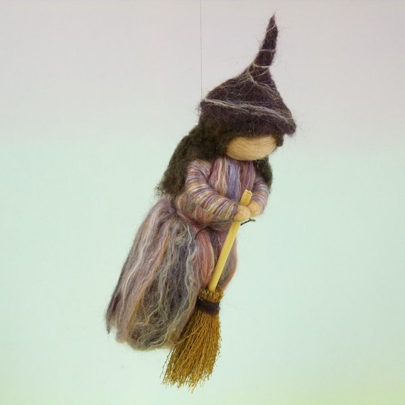 Flying Kitchen Witch Needle Felted Wool Doll