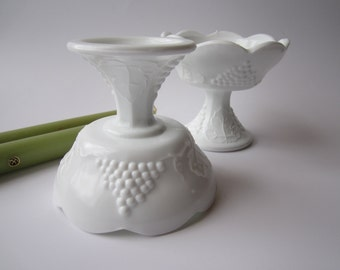 Vintage Colony Harvest Milk Glass Footed Candleholder Pair