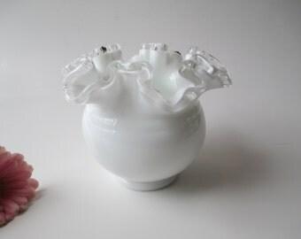 Vintage Fenton Milk Glass Silver Crest Vase