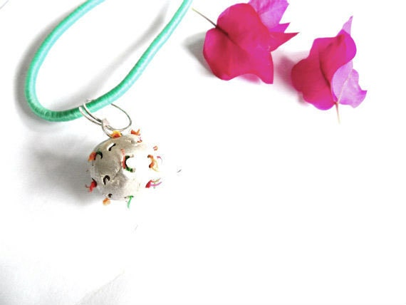 Orbit necklace filled with silk-Unique necklace Neon silk