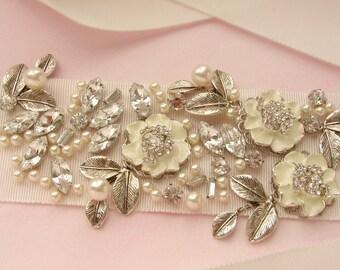 Wedding Sash, Bridal belt, Enamel Flower Sash, Bridal rhinestone pearls silver leaf branches wedding gown belt sash