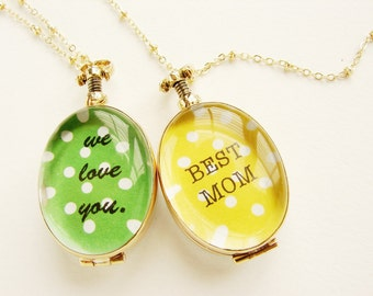 Mother's day necklace, glass locket We love you for mom, personalized jewelry, Mothers day gift, glass locket