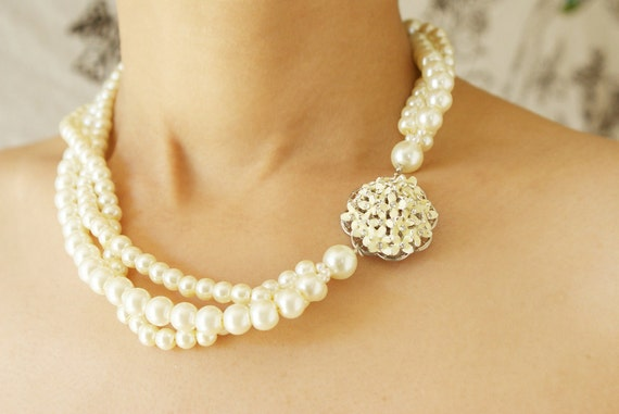 Bridal jewelry, Hydrangea statement necklace, Enameled flower twisted pearl jewelry, bridesmaid jewelry, Hydrangea necklace