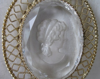 Woman Clear Gold Filigree Necklace Vintage Glass Pendant