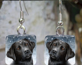 Art Glass Earrings Dog 100 black Labrador Jewelry painting by L.Dumas