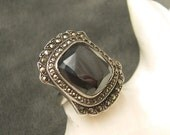Sterling Marcasite Deco Ring Hematite Vintage R5413